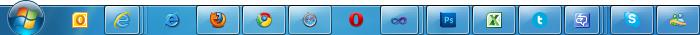 Screenshot of my start bar: Outlook, IE9, IE6, Firefox, Chrome, Safari, Opera, Visual Studio, Photoshop, Excel, MetroTwit, Communciator, Skype, Live Messenger