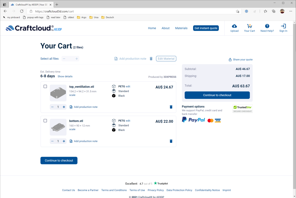 Screenshot of Craftcloud3D checkout showing the top and bottom parts of the case in the cart. Total cost is AU$63.67.