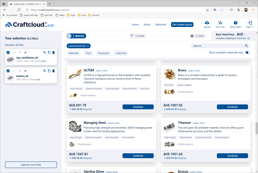 Screenshot of Craftcloud3D website showing quotes for different material choices, at different price points.