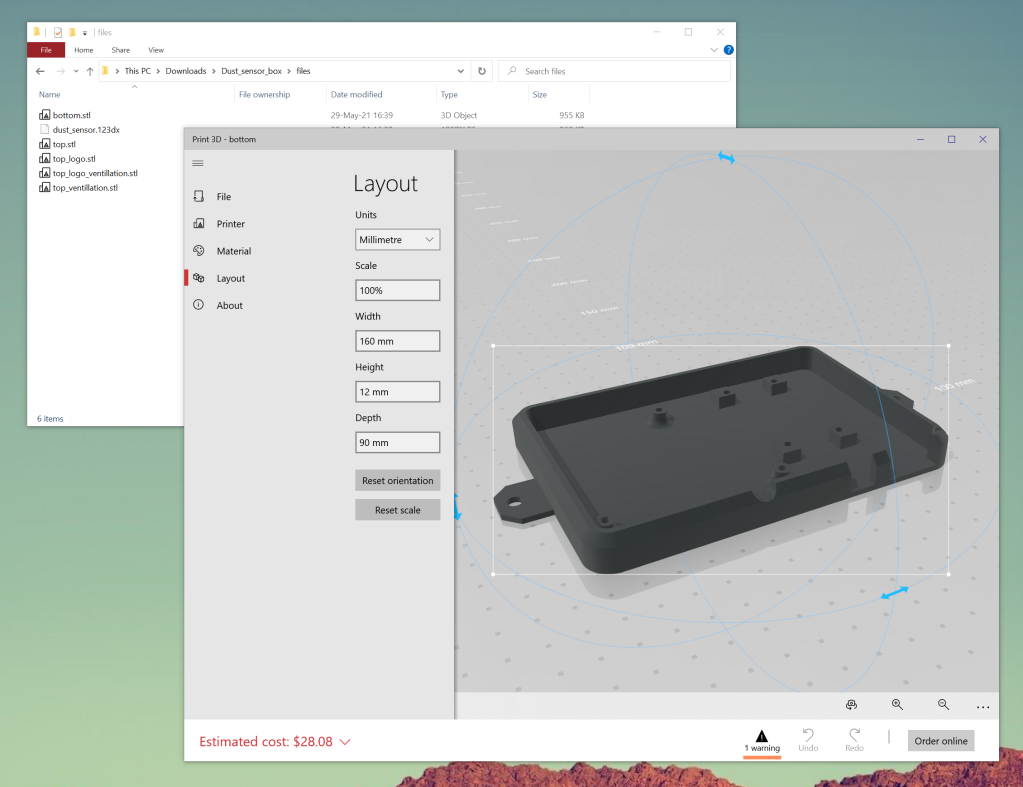 """Screenshot of Windows 10 """"Print 3D"""" application showing the bottom section of the case previewed in 3D."""