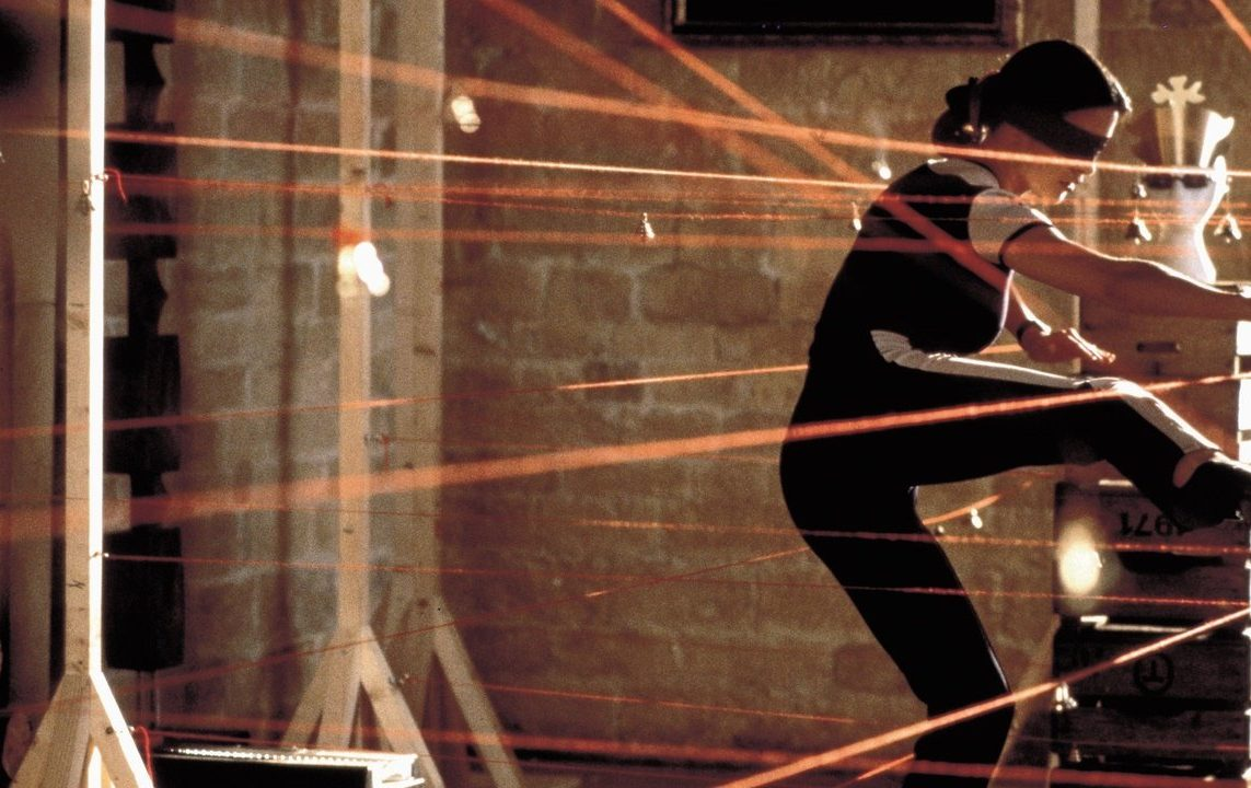 Catherine Zeta Jones navigating through visible lasers, from the movie 'Entrapment'.
